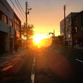 長沼町の夕やけ