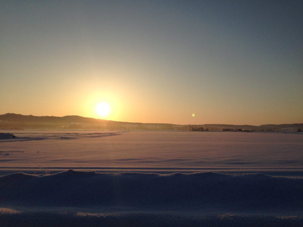 長沼町内の夕陽